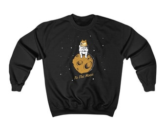 DogeCoin To The Moon CrewNeck - Blockchain Crewneck - CryptoCurrency Shiba inu Dog Sweater