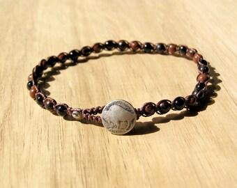 Mahogany Obsidian Macrame Bracelet / 8 inch