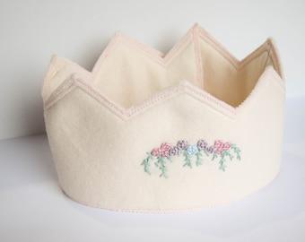 Custom Embroidered Crown, Felt, Handmade