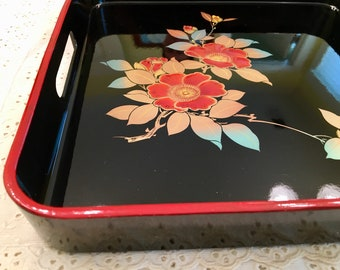 Lacquerware Chinoiserie Tray - Black Red Floral Tray with Handles - Asian Style Serving Tray