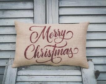 Christmas Pillow Decor Pillow Merry Christmas Christmas Pillow burlap pillow 15x10 accent pillow