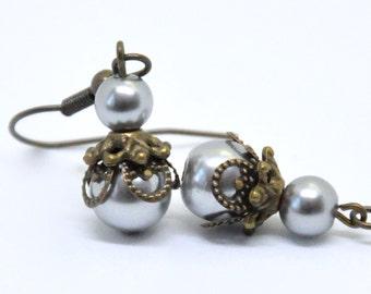 Blue Pearl Earrings, Dusty Blue Earrings, Antique Brass Pearl Earrings, Filigree Earrings, Smoky Blue Bead Earrings, Blue Bridesmaid Jewelry