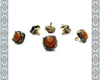 6 Conchos AMBER RIVET gold plated Concho Rivet Pin