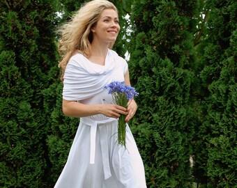 SALE baptism dress cowl neck dress rustic wedding dress simple wedding dress pagan wedding dress modest wedding dress circle dress white
