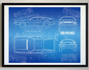 Car blueprint etsy dmc delorean 1981 da vinci sketch back to the future blueprint patent prints posters delorean decor art car art cars 170 malvernweather Choice Image