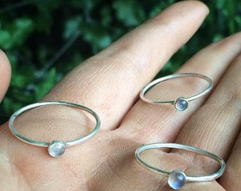 Moonstone Ring / Stackable Moonstone Ring / Sterling Silver Ring / Moonstone Stack Ring / Moonstone Stacking Ring / Boho Moonstone Jewellery