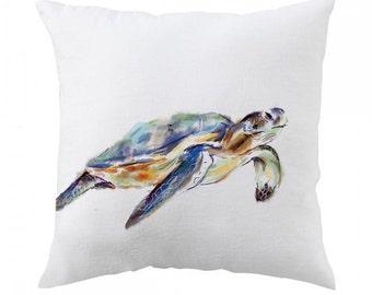 Turtle Pillow 18x18 inch - Watercolor Turtle - Sea Turtle Pillow Cover - Throw Pillow Cover - Whimsical, Cushion, Nursery