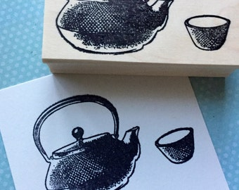 teapot and cup Rubber stamp