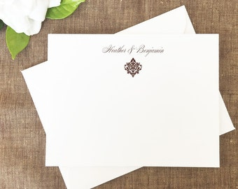 Damask Classic Style Thank You Note Cards, Damask Personalized Stationery, Damask Notes, Note Card Set, Thank You Notes, Set of 25 Cards