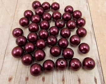 10mm Glass Pearls - Burgundy - 40 pieces - Dark Wine