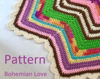 Crochet Blanket PDF Pattern 12-Pointed Star Blanket Bohemian Love Design