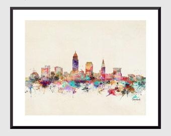 cleveland ohio skyline .clveland art print .cleveland skyline.ohio cityscape .cleveland poster travel art.colorful water skylines .art print