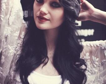Lace Turban Headband, Black Lace Turban Headband, Boho Headband, Lace Hair Accessory