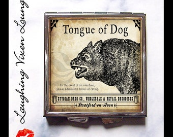 Witch Spell Compact Mirror - Pill Box - Magic Potion Label - Macbeth Shakespeare - Pill Case - Purse Mirror - Tongue Of Dog