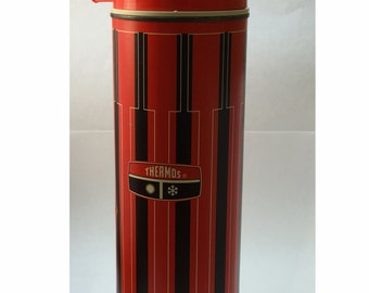 Vintage Thermos: Retro Red & Black with White Stripe, Picnicware, Coffee or Soup