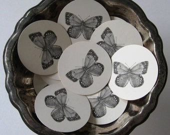 Butterfly Tags Round Gift Tags Set of 10