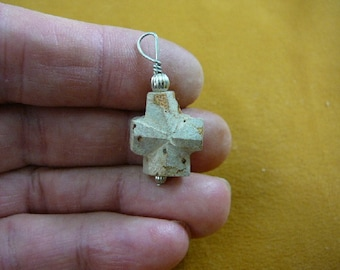 "3/4"" medium Fairy Stone cross silver wired pendant jewelry necklace staurolite crystal christian CR503-57"