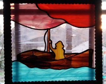 Fisherman in a boat Stained glass Panel, Fisherman, fishing on a boat