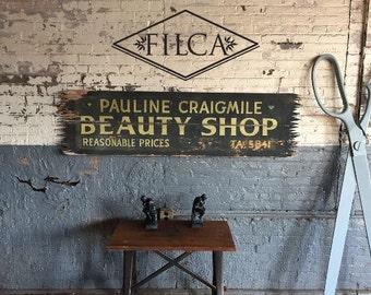 1940s Handpainted Solid Wood Beauty Shop Sign Great Store Decor For Salon Western Style