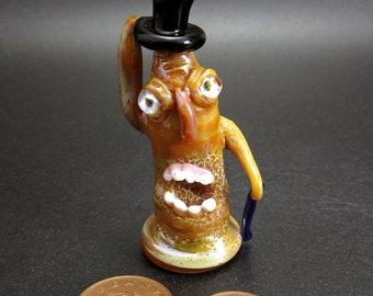 Top hatted Steampunk dapper creature - escaped GMO laboratory accident collectable lampwork science figure