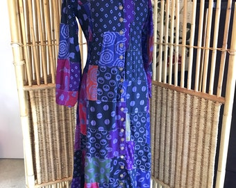 Vintage 80s Batik Ikat Patchwork Maxi Dress with Lace Up Back
