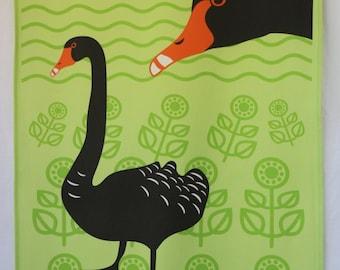 Black Swan tea towel - green