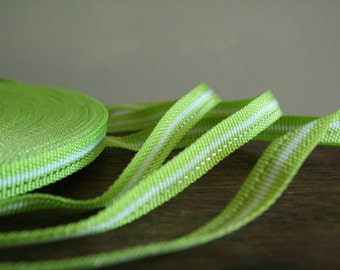 green, white, silver stripe COTTON TAPE. 3 meters. supplies by runningthreads