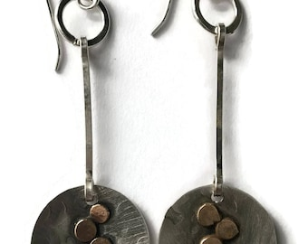 Mixed Metal Pebble Earrings