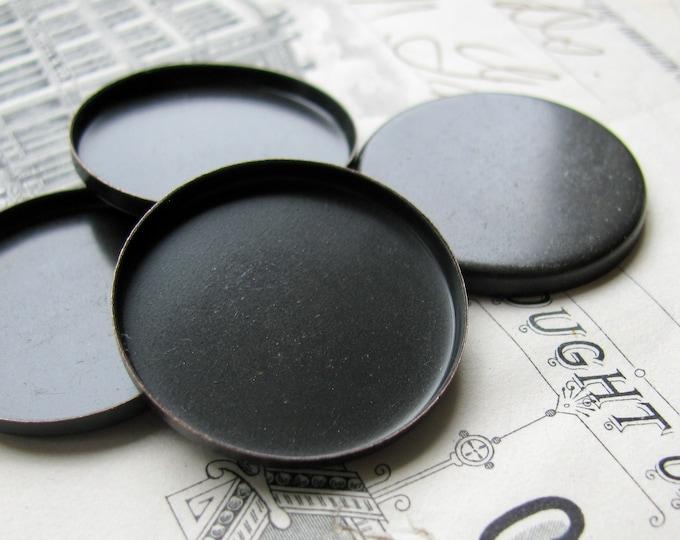 25mm round brass bezel cup settings, plain edge, black antiqued brass blanks (4 bezels) black bezels, bottle cap size, bottlecap tray