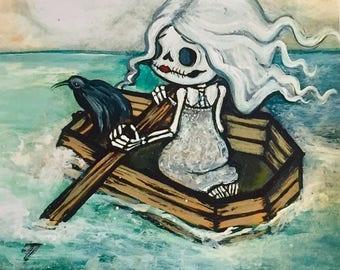 Coffin boat sugar skull skeleton girl nautical art portrait print
