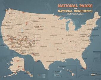 US National Parks & Monuments Map 18x24 Poster