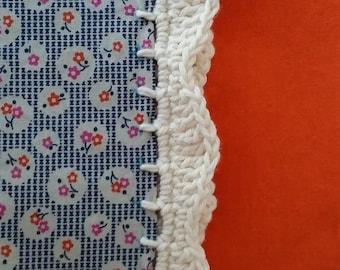 Crochet Edged Blue Floral/Orange Pillow Case/Sham/Slip