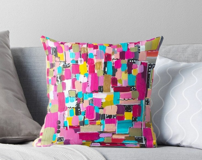 Decorative Pillows For Couch, Throw Pillow Covers 18x18, Pillows Handmade, Colorful Pillows, Pink Pillows, MidCentury Modern, Turquoise