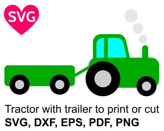 tractor with trailer svg file for cricut silhouette farm tractor rh etsystudio com tractor trailer clip art free tractor trailer tire clipart
