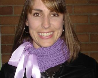 Hand Knitted Neck Warmer Purple Wool