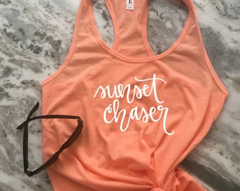 Sunset Chaser Hand-Lettered Women's Graphic Tank Top - Racerback Tank - Work Out Tank - Work Out Shirt - Mom Tank -Exercise Tank -Beach tank