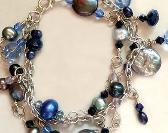 Triple Strand Blue Freshwater Pearl, Silver Chain, & Charm Bracelet