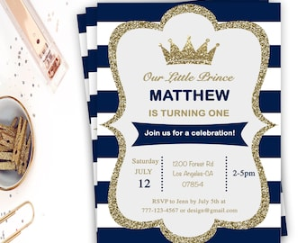 2nd birthday invitation prince crown second birthday 1st birthday invitation prince crown first birthday stripe blue and white birthday party prince one prince birthday digital file filmwisefo