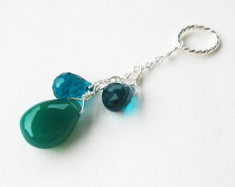 Teal Pendant, .925 Sterling Silver Pendant, Teal Quartz Faceted Teardrops, Green Onyx Smooth Drop, Handmade, Jessamyn's Sister