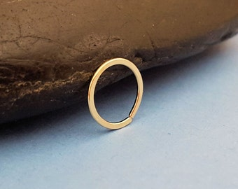 14k Gold Filled Cartilage Hoop, Tiny Earring, 20g Yellow Gold or Rose Gold, 6mm 7mm or 8mm - Artisan Jewelry