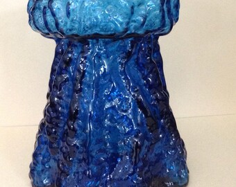 Cobalt Blue Glass Vase Art Glass Vase Mid Century Vase