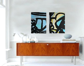 """Two Canvases Light Blue/Grey/Black LARGE 18""""x24"""" Canvas Painting Abstract Minimalist Art Modern Original Contemporary Artwork"""