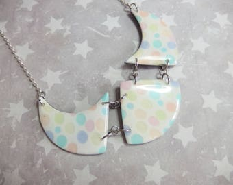 Colorful transparent bubbles necklace made of resin and polymer clay