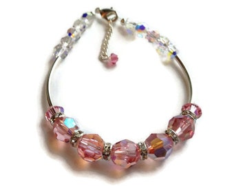 Swarovski Pink Crystal Bangle, Sterling Bangle, Crystal Bangle, Adjustabe Bangle