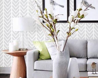 Herringbone Pattern Grey Removable Fabric Wallpaper