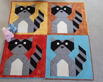 Crib quilt play mat wall hanging cotton homemade raccoons bandits custom quilted