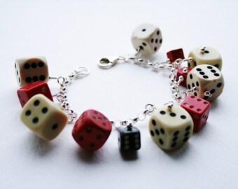 Vintage Dice and Sterling Silver Charm  Bracelet