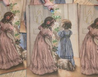Victorian Sisters  Christmas Tags , Vintage Christmas Gift Tags