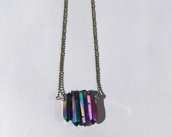 Iridescent Crystal Point Cluster Necklace