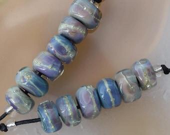 6 Sparkling Multicolor Nuggets,  purple blue green seafoam lampwork beads by Beadfairy Lampwork, SRA